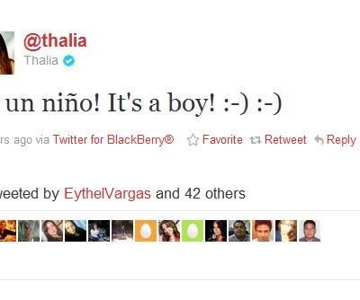 Thalia dá a luz y es un niño!