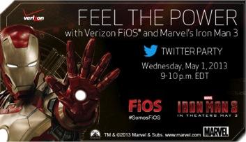 Siente el Poder con Verizon FiOS y Marvel's Iron Man 3. Fiesta en Twitter
